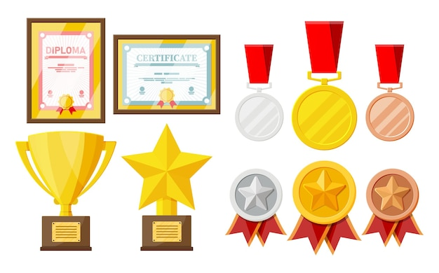Trofee en prijzen collectie. diploma en certificaat in lijsten. wedstrijdprijzen, bekers en medailles. award, overwinning, doel, kampioen prestatie. vectorillustratie in vlakke stijl