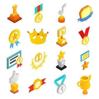 Trofee en prijzen isometrische 3d-pictogrammen instellen