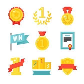 Trofee en prijzenpictogrammen geplaatst vlakke illustratie.