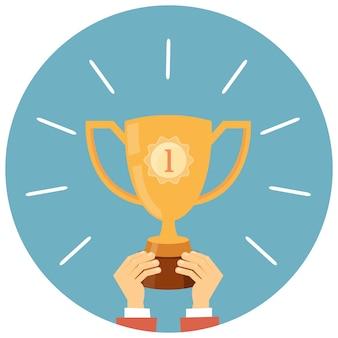 Trofee, handen met winnaar beker vectorillustratie in vlakke stijl