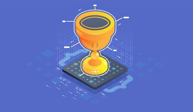 Trofee of prijs voor kampioen, isometrische vectorillustratie.