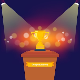 Trofee op het podium