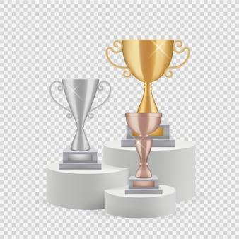 Trofee op podium. gouden, zilveren en bronzen kopjes geïsoleerd op transparante achtergrond.