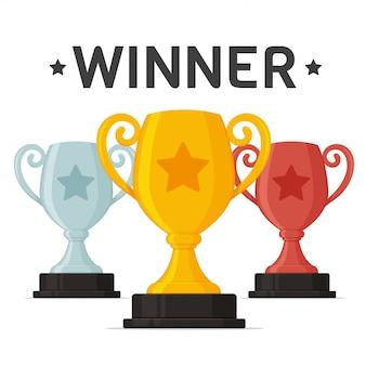 Trofee pictogram. de gouden trofee is de prestatie van de winnaar van het sportevenement.