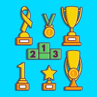 Trofee set cartoon vector illustratie trofee beloning concept geïsoleerd
