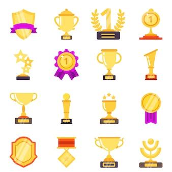 Trofee symbolen. prestatie awards medailles met linten voor winnaars sport overwinning plat pictogrammen