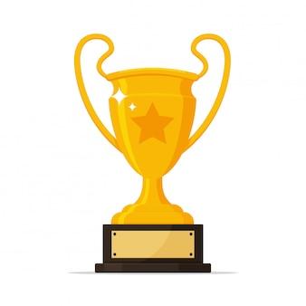 Trofee vector. gouden trofee met naamplaatje van de winnaar van het sportevenement.
