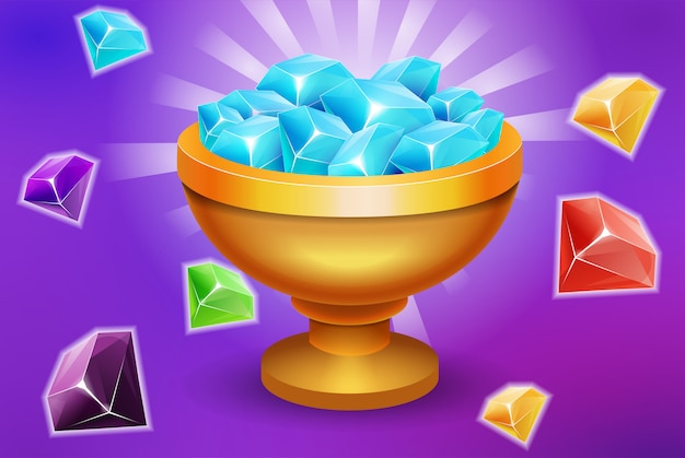 Trofee vol met edelstenen en stenen game-element activa voor overwinning of inn app