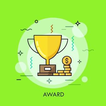 Trofee voor dunne lijn iconen van de winnaar van de eerste plaats