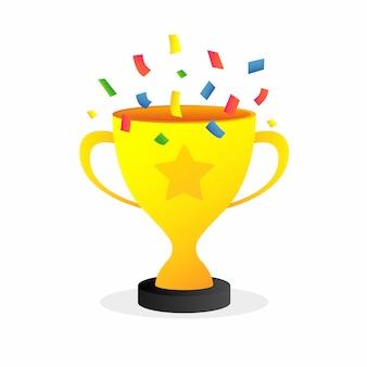 Trofee winnaar gouden beker vector pictogram
