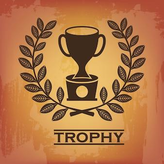 Trofee zegel over vintage achtergrond vectorillustratie