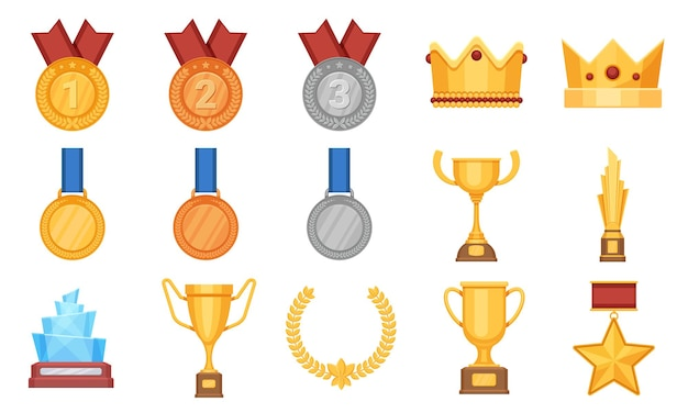 Trofeeën en medailles. award prijs plat icoon, olympische gouden, zilveren en bronzen medaille met lint. winnaar beker, glazen beloning en kroon vector set. prijsuitreiking, succesbeker en medaille, winnaar van beloning