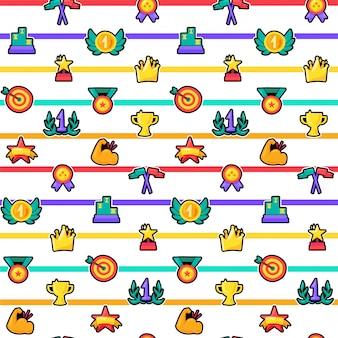 Trofeeën naadloze kleur vector patroon
