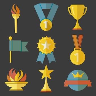 Trofeeën pictogrammen in plat design