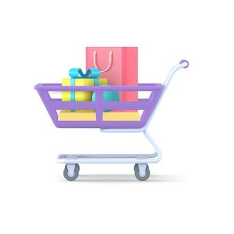 Trolley voor aankopen met pakketten