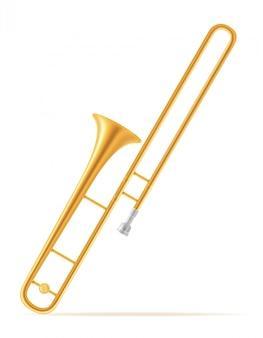 Trombone wind muziekinstrumenten voorraad vectorillustratie
