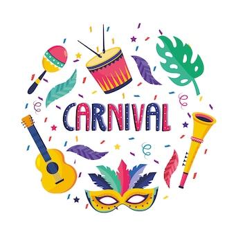 Trommel met maracas en masker met gruitar naar festival