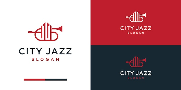 Trompet logo-ontwerp bouwen voor muziekconstructie
