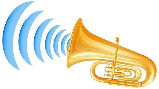 Trompet met geluidsgolf pictogram