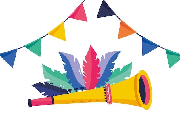 Trompet muziekinstrumenten vector illustratie