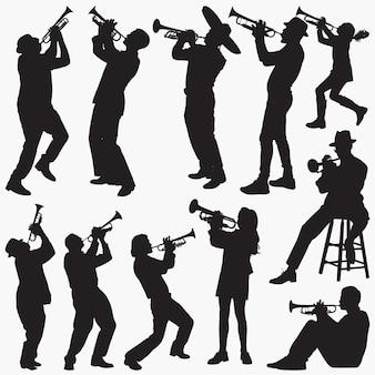 Trompet-silhouetten spelen