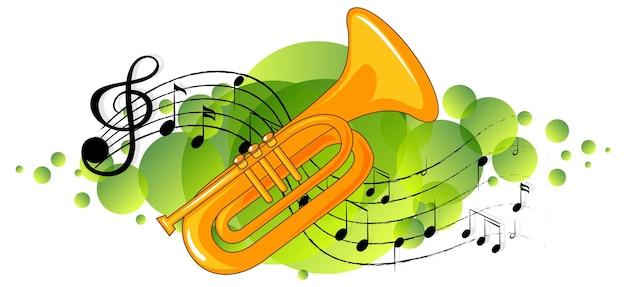 Trompetmuziekinstrument met melodiesymbolen op groene splotch