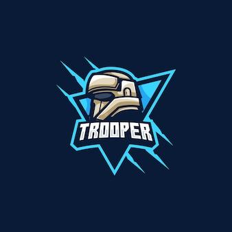 Trooper mascotte games illustratie vector sjabloon