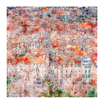 Tropea italië aquarel schets hand getrokken illustratie