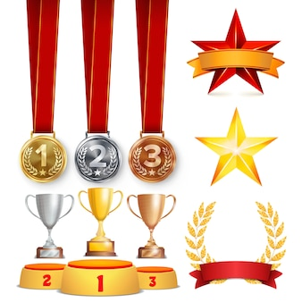 Trophy awards set illustratie