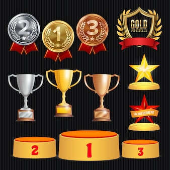 Trophy awards set illustratie