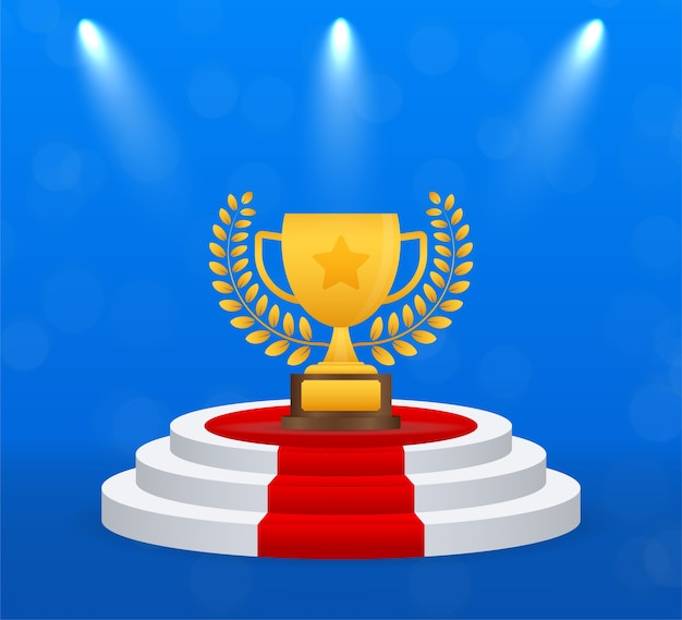 Trophy cup vector platte pictogram met ster en lauwerkrans.