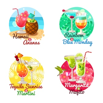 Tropical cocktails flat