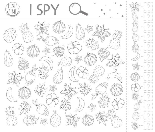 Tropical i spy game. exotische zoek- en telactiviteit voor kleuters met schattige elementen. grappig zwart-wit jungle afdrukbaar werkblad. logische quiz. leuke kleurplaat voor kinderen
