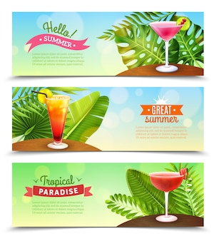 Tropical paradise vacations banners set