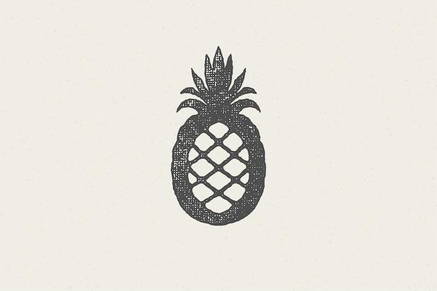 Tropisch ananassilhouet voor ontwerpen met het effect van de gezond en biologisch voedselhand getrokken postzegel