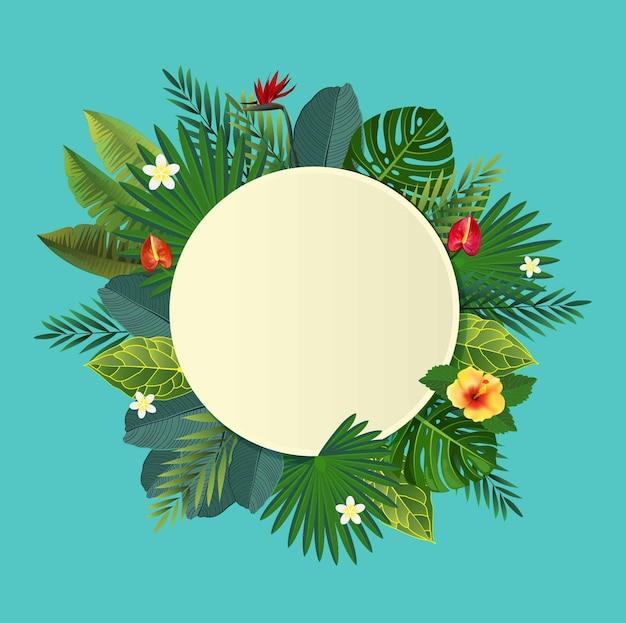 Tropisch blad en bloemen. illustratie.