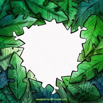 Tropisch bladerenframe van waterverf