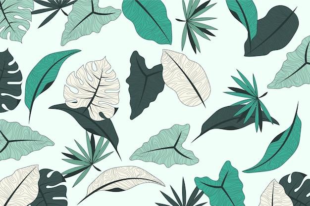 Tropisch bladerenontwerp met pastelkleurachtergrond