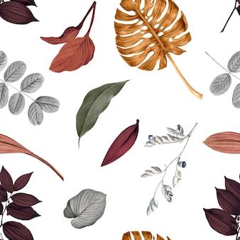 Tropisch bladerenpatroon Gratis Vector