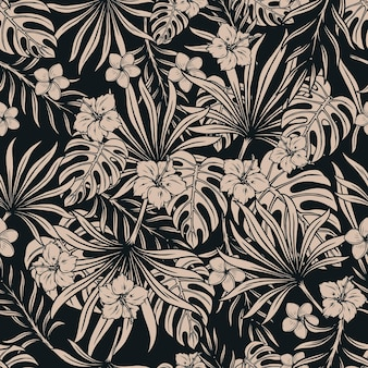 Tropisch bloemen naadloos patroon met mooie frangipani, hibiscusbloemen, monstera en palmbladeren in zwart-wit stijl