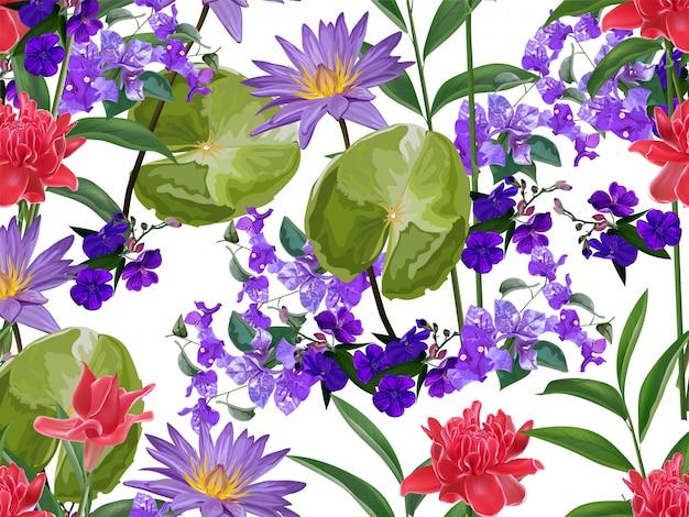 Tropisch bloemen naadloos patroon