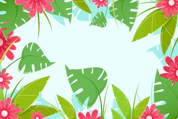 Tropisch bloemenbehang voor zoom