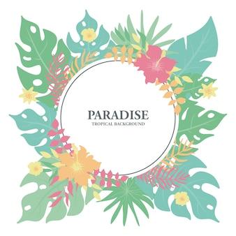 Tropisch bloemenkader, exotische tropische bladeren en bloemengrens