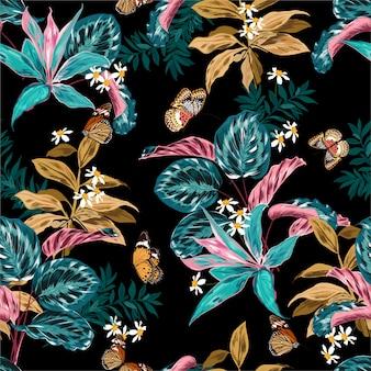 Tropisch bos met planten en bloemen