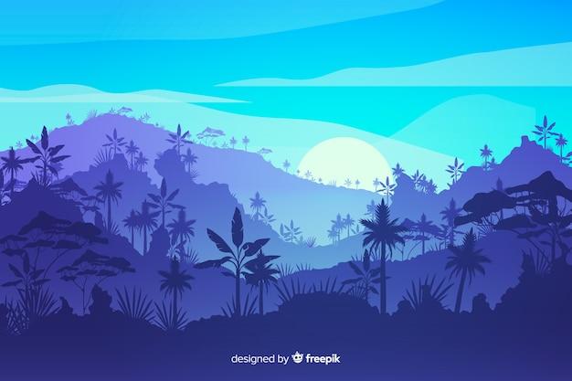 Tropisch boslandschap met bergen