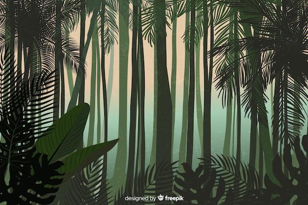 Tropisch boslandschap met lange bomen