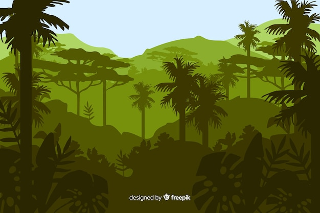 Tropisch boslandschap met veel palmbomen