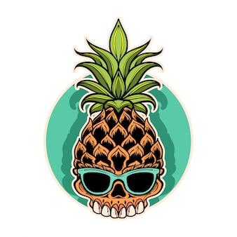 Tropisch de illustratieontwerp van de ananasschedel