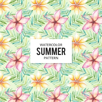 Tropisch de zomerpatroon met waterverfbloemen