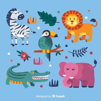Tropisch dier collectie plat ontwerp